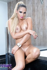 Huge cock Bianca strips and plays