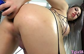 Lusty tranny with big boobies jerking off and anal toying