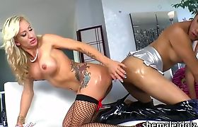 TS babe Jessica and lovely chick Zoey Portland play sex toy together